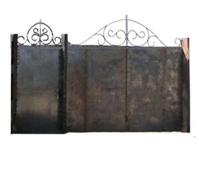 Ворота металлические с ковкой + калитка