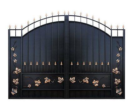 Ворота металлические с ковкой и встроенной калиткой